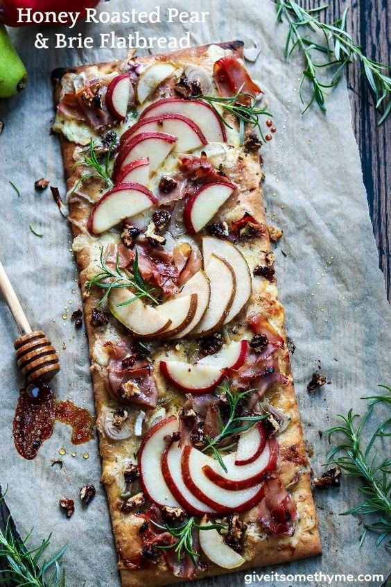 Honey Roasted Pear And Brie Flatbread