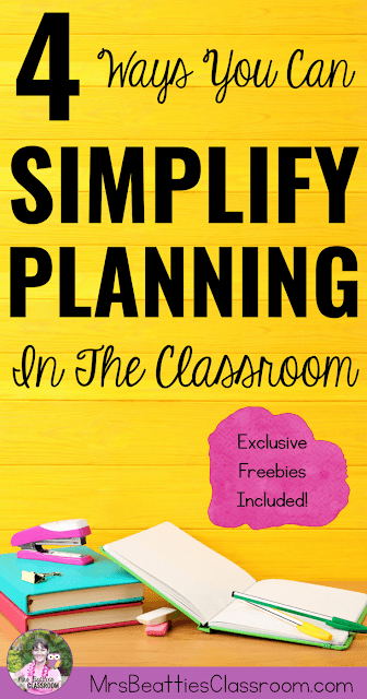 Struggling with your planning time management? The ideas in this post will help you simplify lesson planning and student activity preparation in your classroom!  Get tips and freebies for prioritizing, batch-processing, and organizing the tasks that need to be done so your classroom runs smoothly!