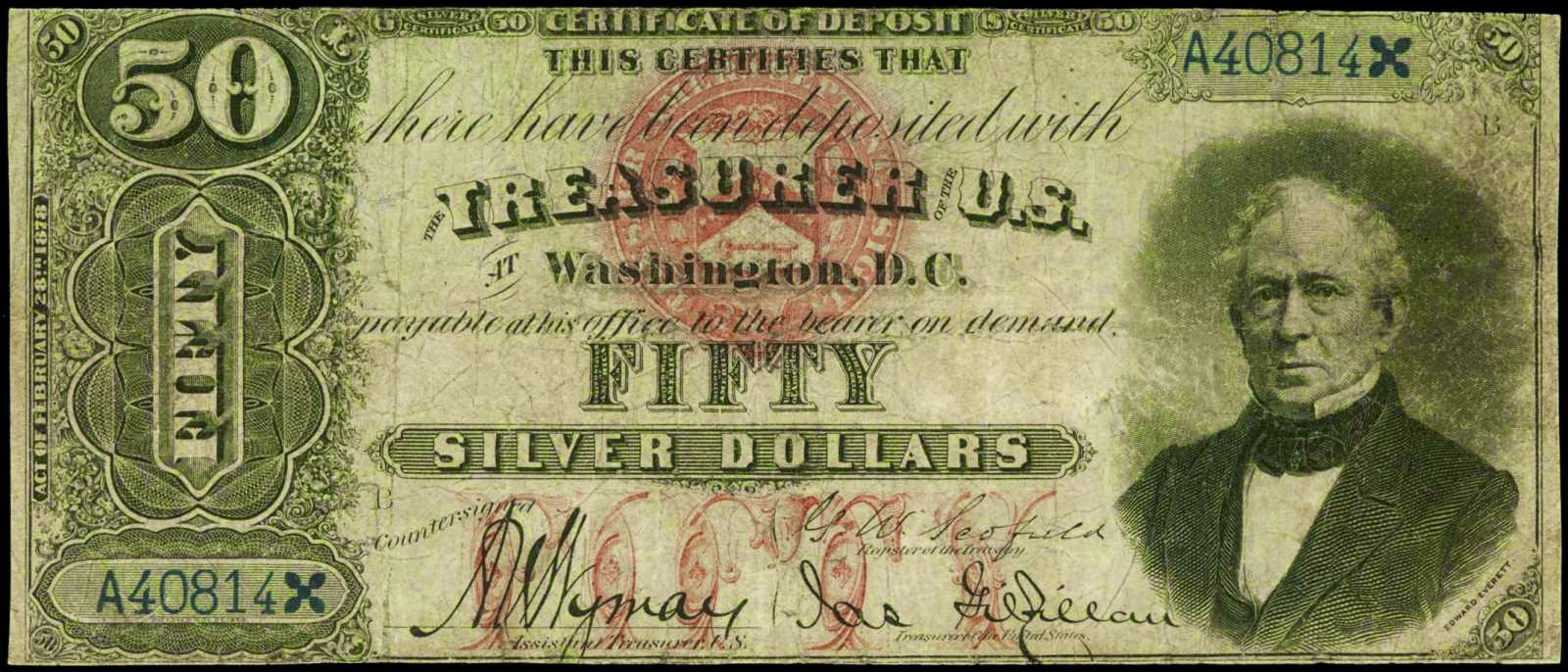 Old American money Fifty Dollar Silver Certificate 1878 Everett