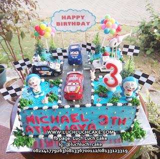 Kue Tart Ulang Tahun Cars dan Doraemon