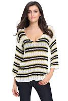 Bluza tricotata, in doua culori, cu decolteu adanc
