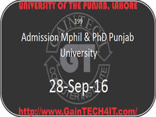 Admission Mphil & PhD Punjab University