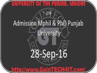 Admission Mphil & PhD Punjab University