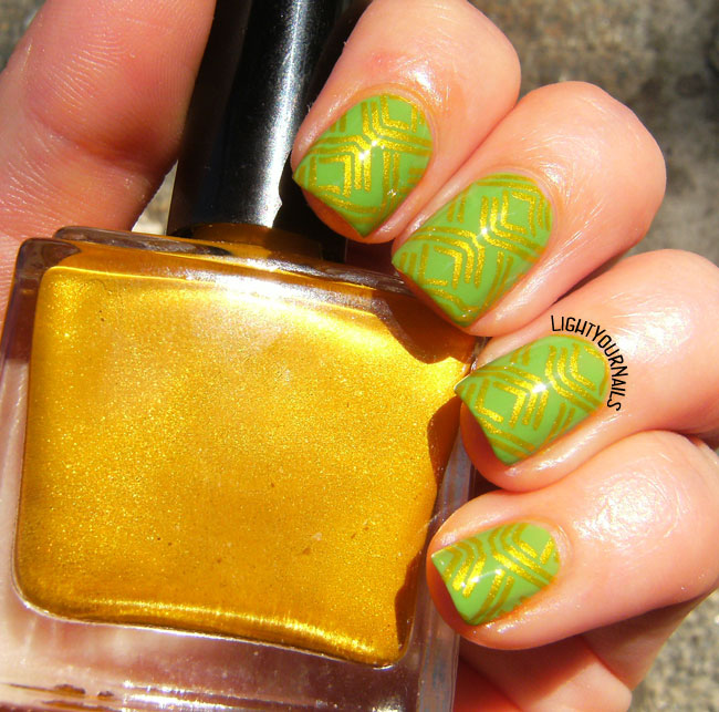 Green and gold geometric nail art
