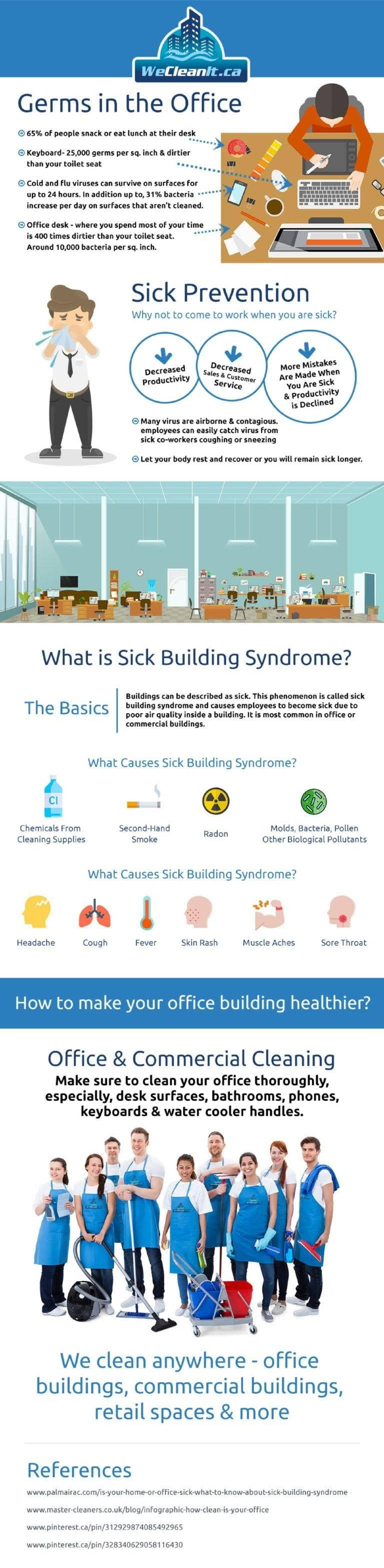 Less Employee Sick Days With Office Cleaning #infographic