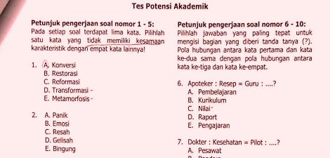 Tes Potensi Akademik Uhamka Soal Tes Masuk Uhamka Pendidikan Kewarganegaraan Pendidikan Kewarganegaraan