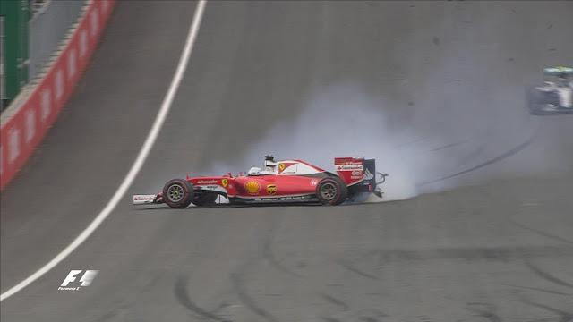 Posisi 10 besar pada lap 27 yaitu 1 VET 2 ROS 3 HAM 4 VES 5 RIC 6 RAI 7 GRO 8 BUT 9 BOT 10 NAS. Di lap yang sama, Vettel yang tengah memimpin mengalami pecah ban tepat di depan Rosberg