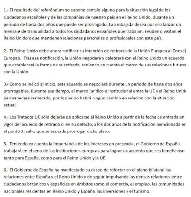 mensaje embajada espana en londres