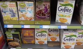 A selection of the new gluten free cereals in the Free From section at Morrisons in Cheadle Heath, Stockport