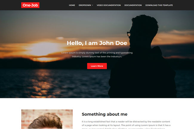 OneJob – Responsive Personal Blogger Template