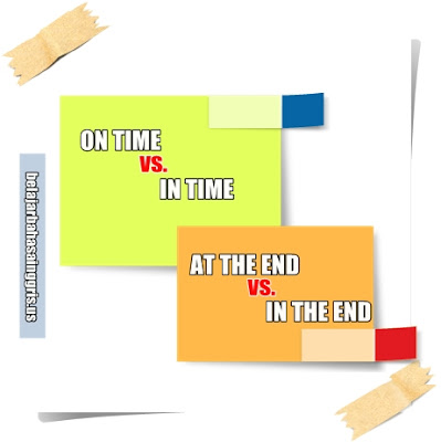 Preposition, On Time, In Time, At the End, In the End, Penggunaan, Penjelasan, Contoh.
