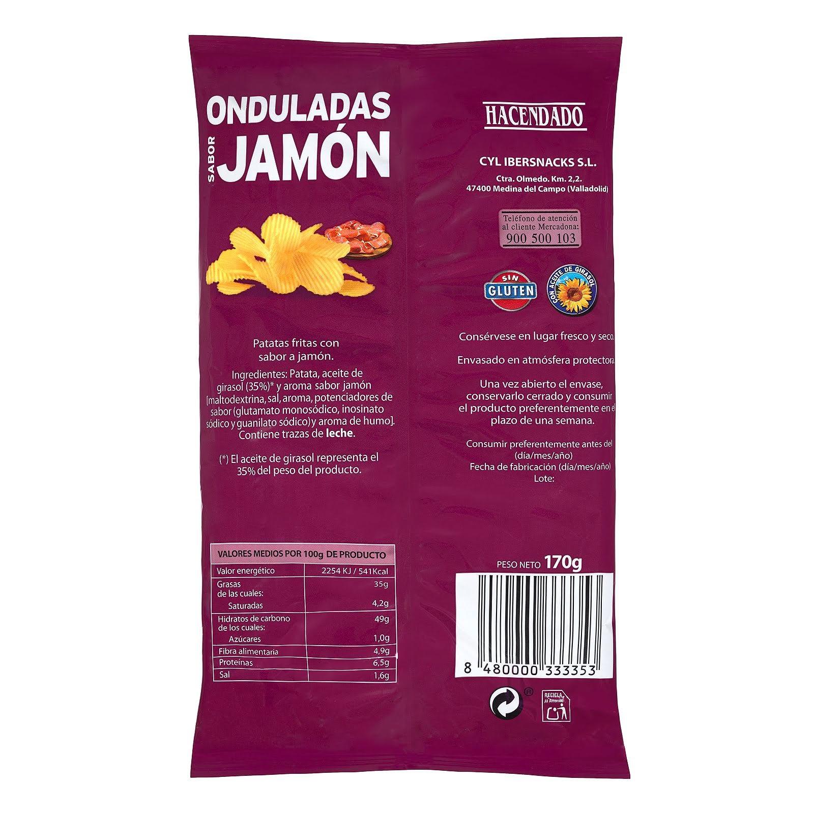 Patatas fritas onduladas sabor jamón Hacendado
