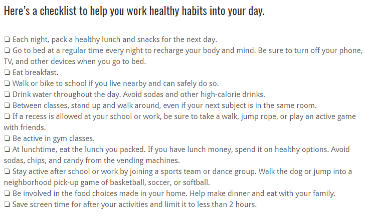 Checklist to help you make healthy habits part of your day!
