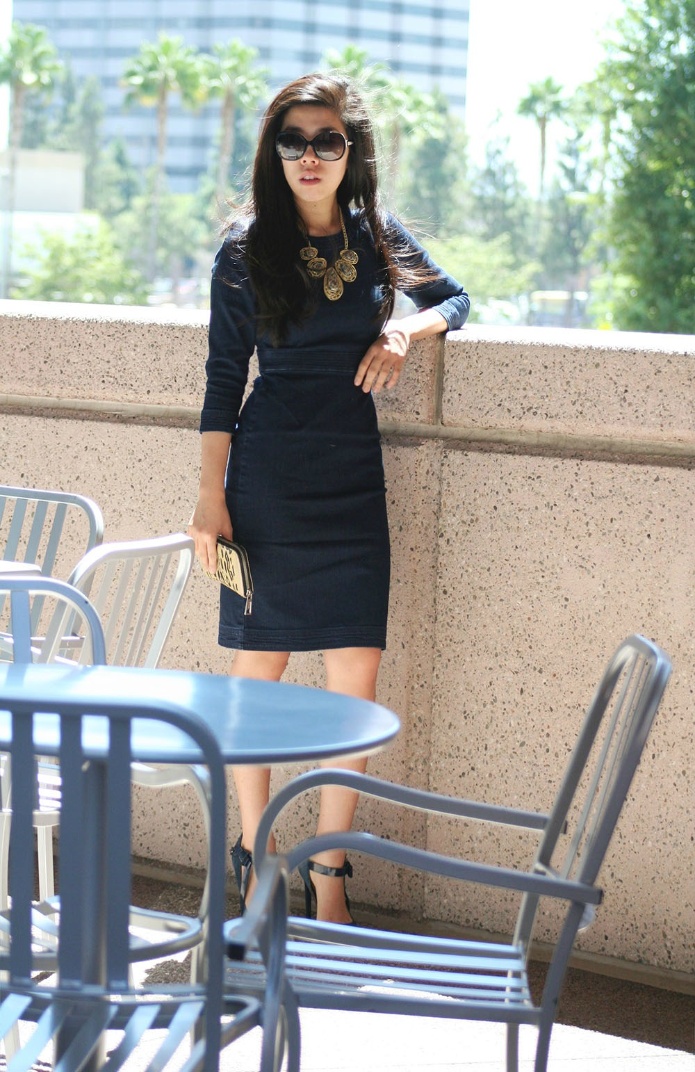 Adrienne Nguyen_Banana Republic Sponsored Post_Denim Bodycon Pencil Dress_What to Wear to Work)Work Wear Ideas_Petite Fashion
