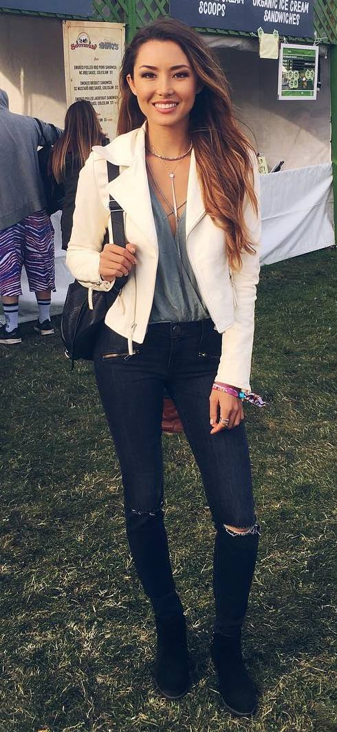 cool outfit: leather jacket + top + bag + rips