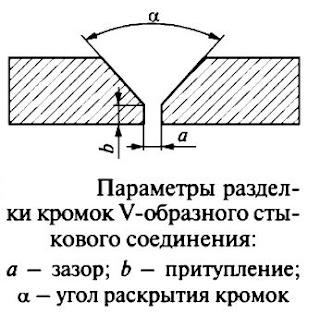 Параметры разделки кромок стыкового соединения