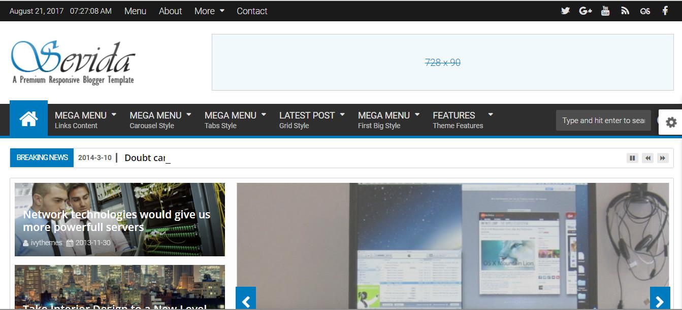 Sevida premium blogger template - Download Responsive seo ready and professional dropdown menu blogspot themes for News, Magazine, Portfolio, Technology, Entertainment and creative blogspot blog.