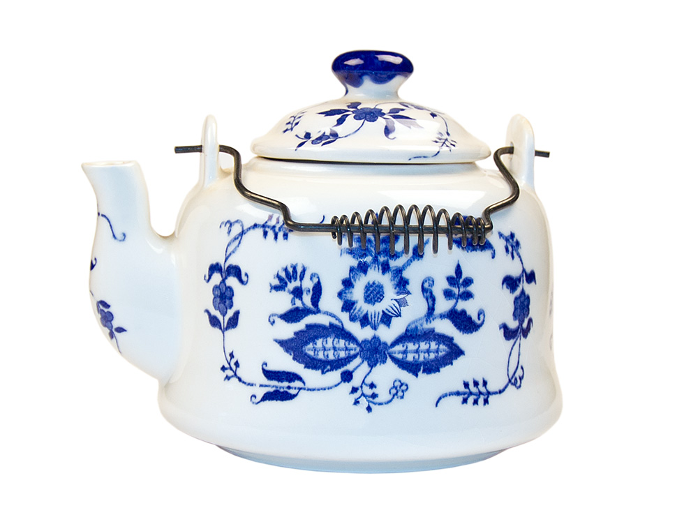 This modern ceramic kettle (which cannot be used on a stove) is decorated with the a version of the very old Blue Onion pattern.