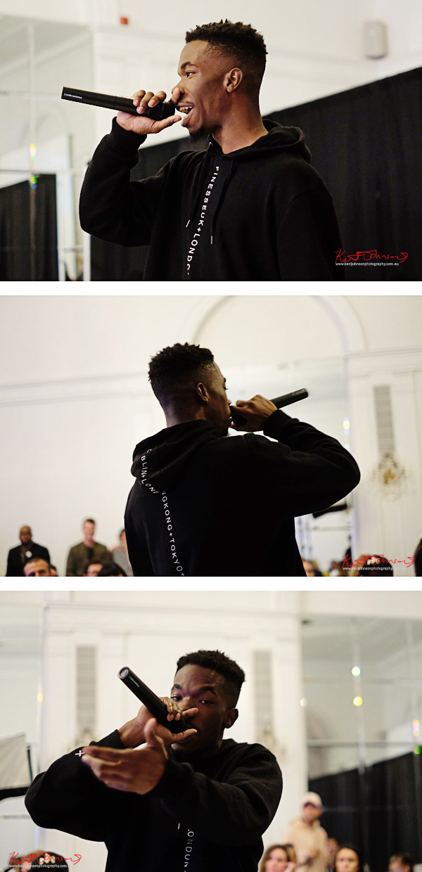 Rapper Elijah XIII performs at Bracé NYFW. Photographed by Kent Johnson.