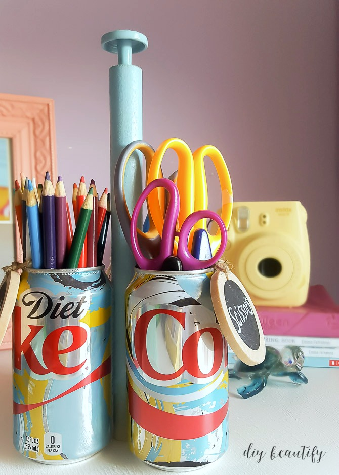 how to make a diy craft caddy with soda cans diy beautify