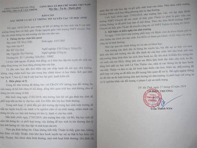 Báo cáo của Trường THCS Lê Văn Thiêm