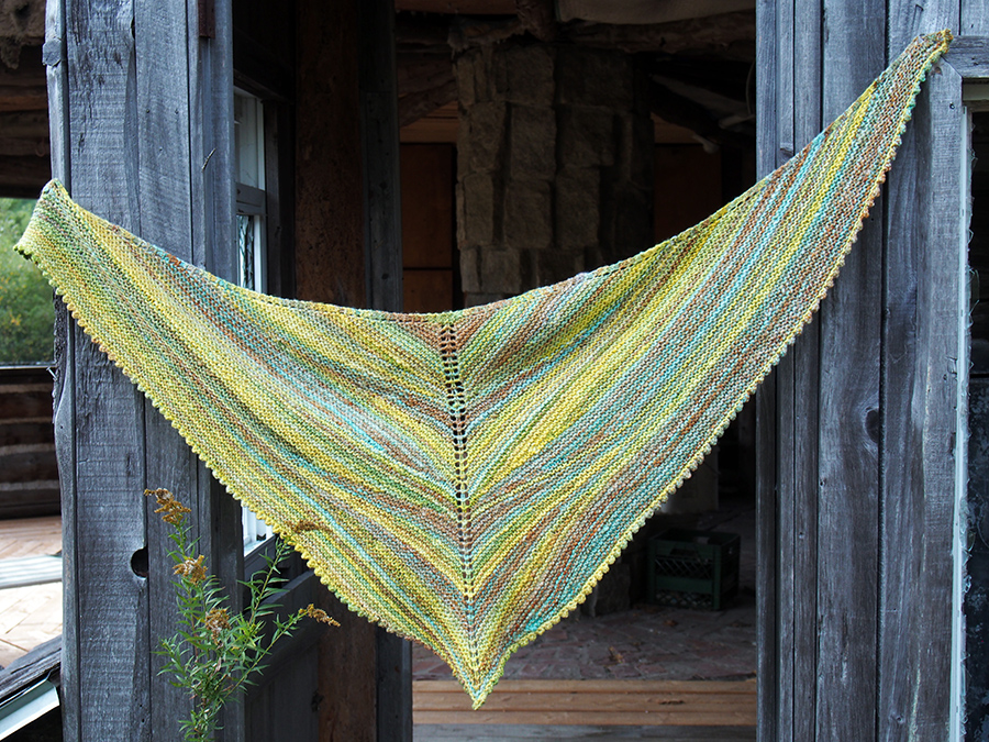Aggregate Shawl by JimiKnits, knit by Dayana Knits in Maine handspun