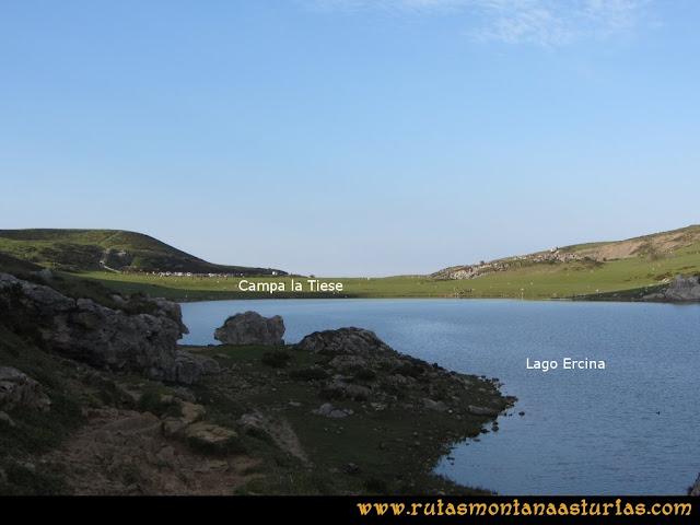 Ruta Ercina, Verdilluenga, Punta Gregoriana, Cabrones: Lago Ercina, llegando al aparcamiento