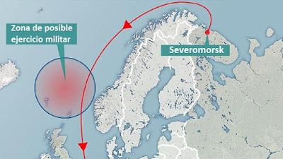 Mapa publicado por el rotativo británico The Daily Mail que muestra la posible zona donde se llevará a cabo el ejercicio militar ruso.