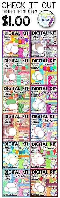 These mini kits are great for classroom teachers to create new teaching resources.  There's graphics and background papers for teachers to make their lessons plans more pretty and fun.