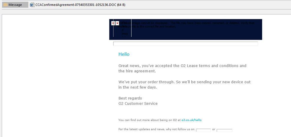 O2 Business Contracts Lease Spam Virus Email - Your Device is on its way