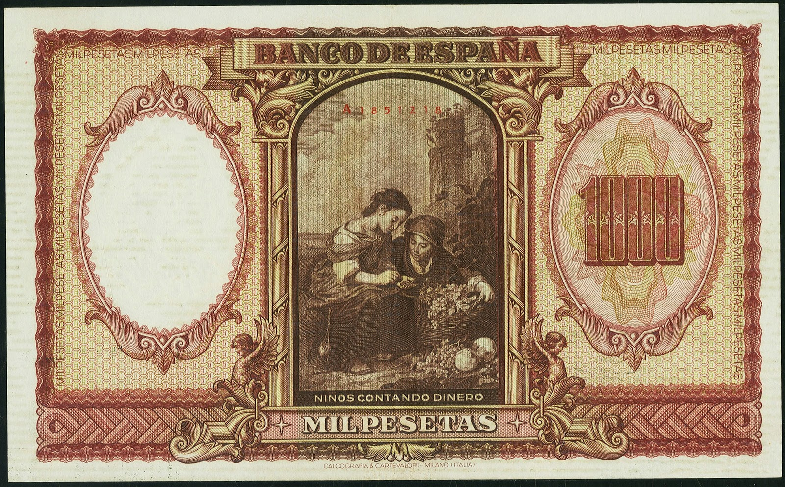 Spain Currency 1000 Pesetas banknote 1940 Children Counting Money by Bartolome Esteban Murillo