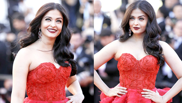 Aishwarya Rai at Cannes 2017 on Red Carpet with red dress