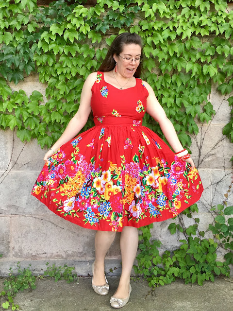 hearts and found russian red folk print dress
