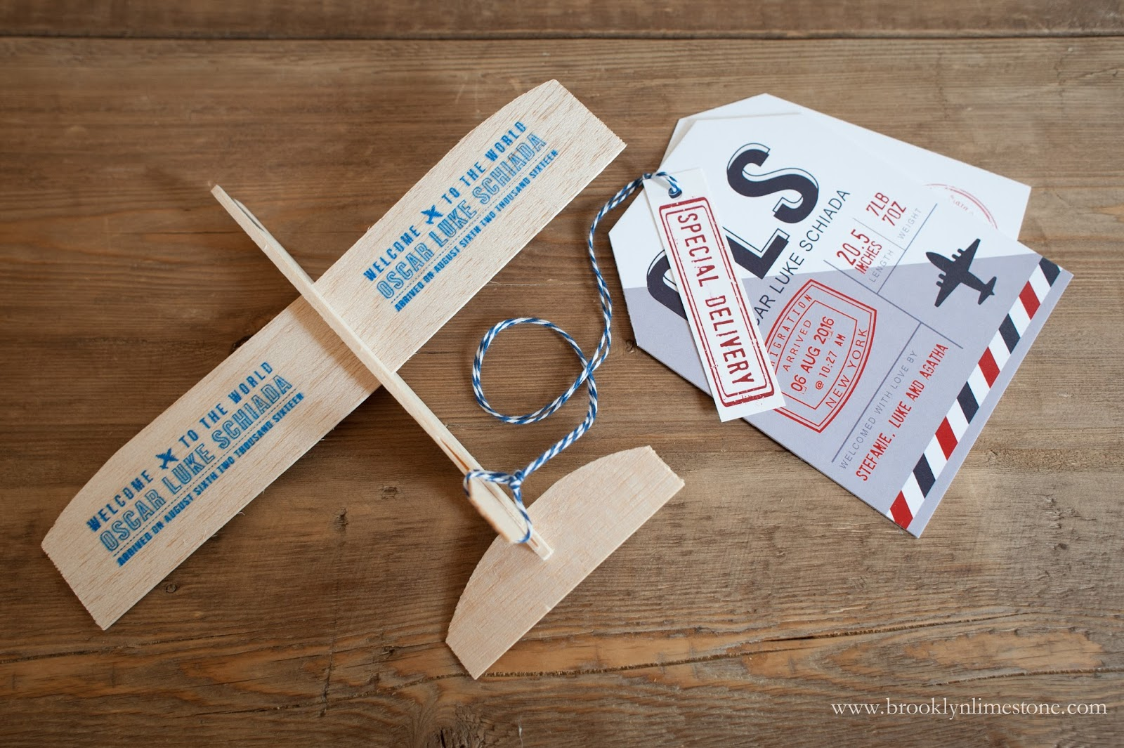 Toy airplane birth announcements + travel tags