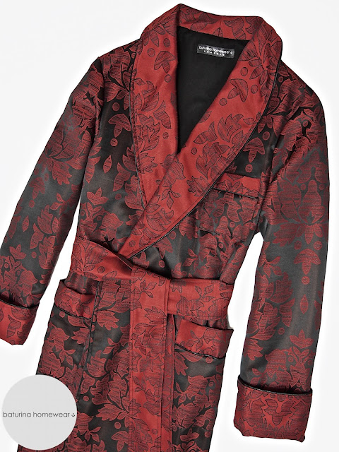 Mens red paisley smoking jacket dressing gown robe