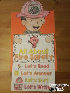 Fire safety flip book with reading and comprehension activities- October Activities for a primary classroom- PLUS a freebie!