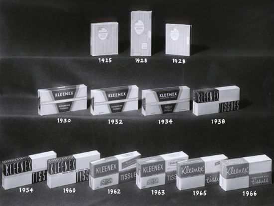Kleenex, packages evolution