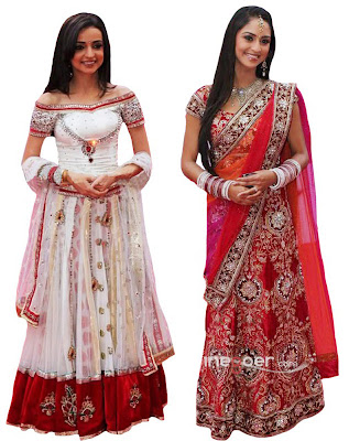 white and red leghna dress