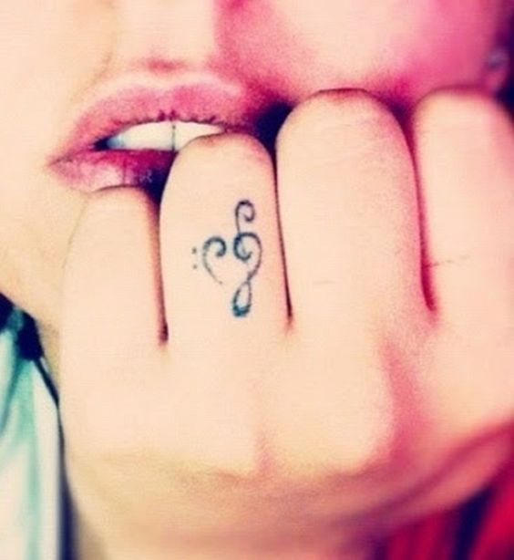 Cute Finger Music Tattoos