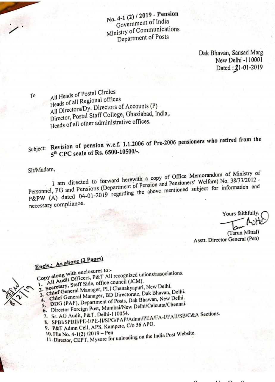 Revision of pension w.e.f. 01.01.2006 of Pre-2006 pension who retired from the 5th CPC scale of Rs.6500-10500/-