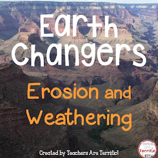 Weathering and Erosion: Reading and Task Cards for erosion and weathering, word wall strips, flash cards, and more!