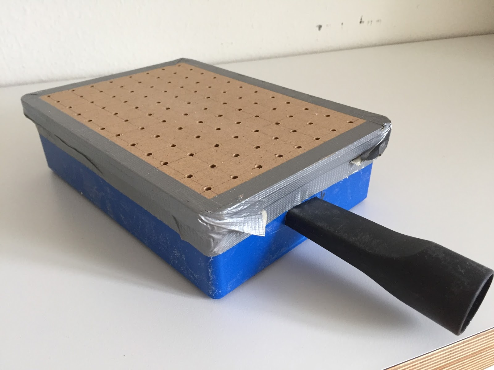 First I Made The Vacuum Box Using A Plastic Hole Big Enough For Sucker And Closed With Wood Plenty Of Wholes In It