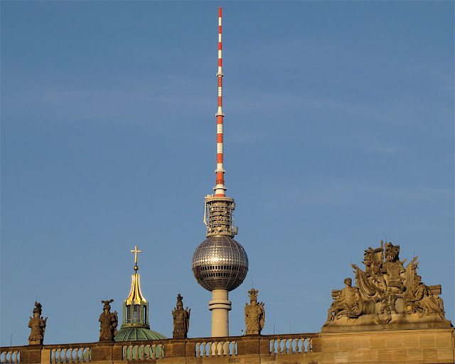 Berliner Dom (Berlin Cathedral) and Fernsehturm (Television tower) seen from Unter den Linden, Berlin