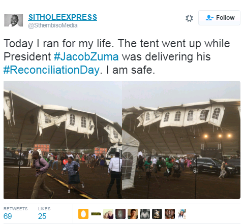 South African President, Jacob Zuma Narrowly Escapes Death As Tent ...