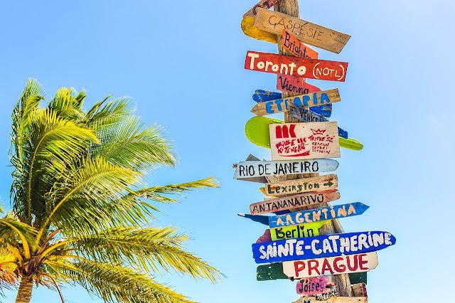 Poste con carteles de ciudades y palmera sobre cielo azul