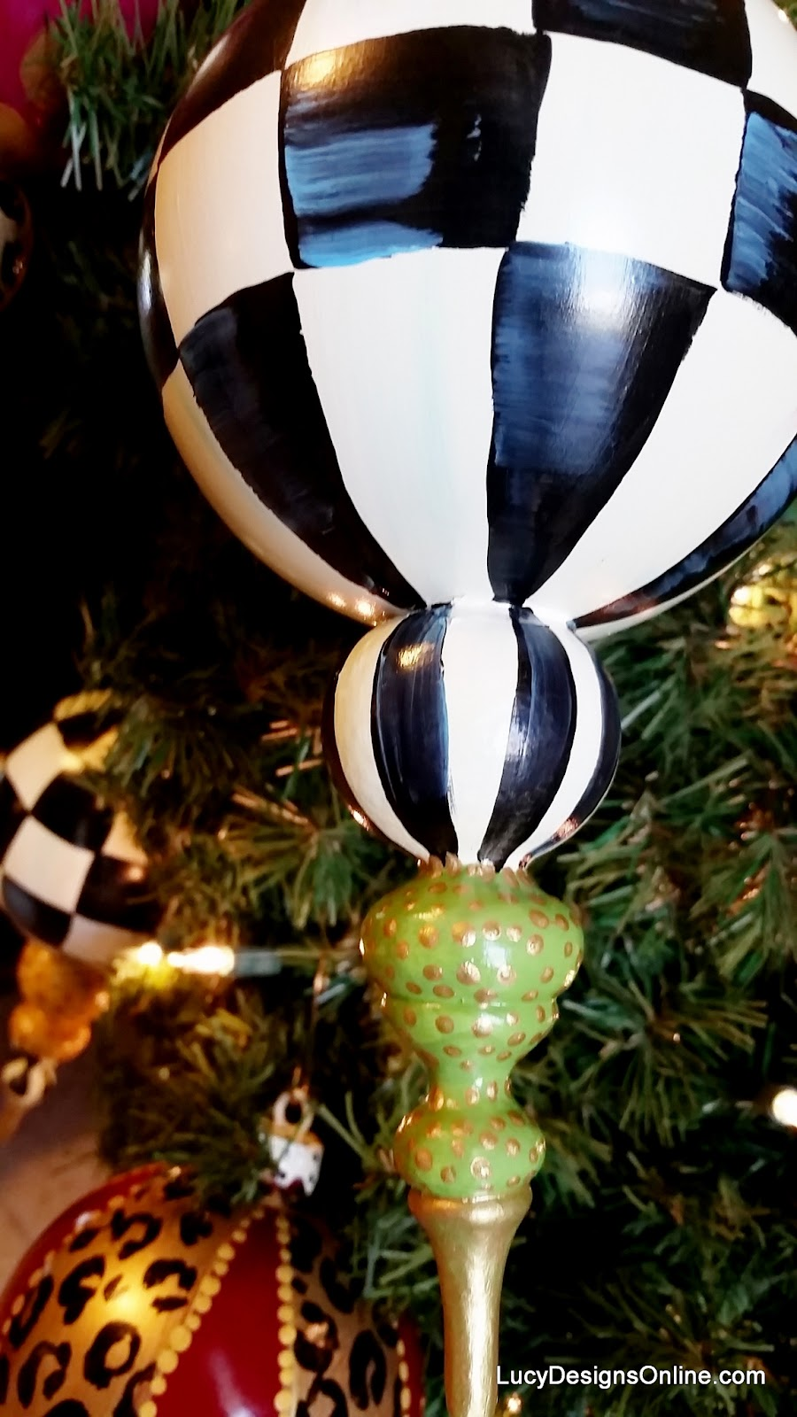 oversized black and white checked Christmas ornament