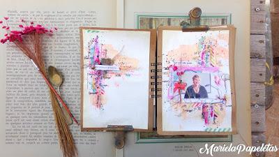 De un solo plano, puedes ver todo el trabajo, una foto hermosa que hace que esta trabajo sera Scrapbooking, que se pueda leer todo el mensaje de creatividad y el detalle de la cuchera llena de texturas junto a un ramito de flores y un pincel