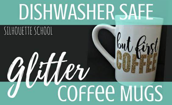 Silhouette America Blog, Silhouette 101, glitter heat transfer vinyl, gold glitter heat transfer vinyl, coffee mug