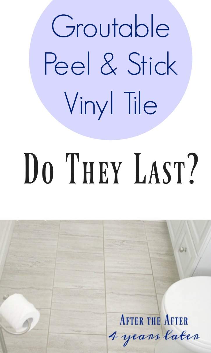 How to install peel and stick vinyl tile that you can grout check out this post where we share how the peel and stick tile have held up after 4 years of use dailygadgetfo Choice Image