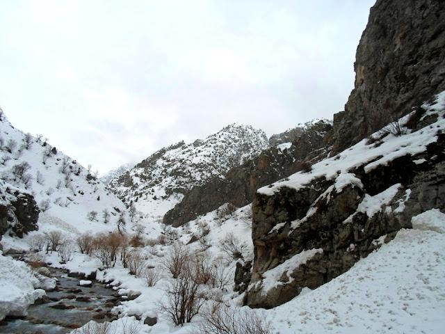 Ущелье реки Сиама зимой, Варзоб, горы Таджикистана - фото-обзор похода